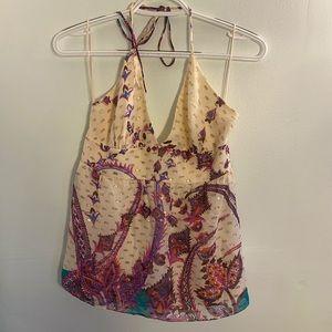 •Tibi• Patterned Silk Halter Top